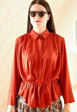 Orange peplum vintage blouse