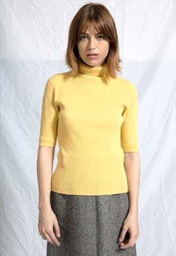 Mandarin Yellow Stretchy Turtleneck Blouse