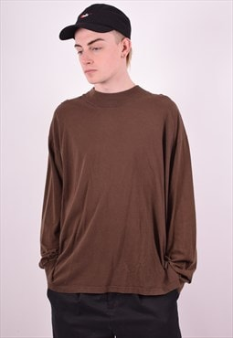 Lee Mens Vintage Top Long Sleeve XL Brown 90's