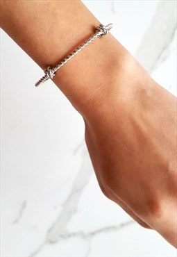 Twisted Knot Cuff - Silver