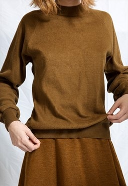 Crew Neck Brown Sweatshirt