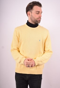 Polo Ralph Lauren Mens Vintage Jumper Sweater XL Yellow 90's