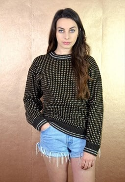 90s Vintage Brown and White Knit Jumper