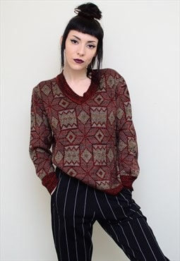 Vintage 90's Abstract Patterned Jumper