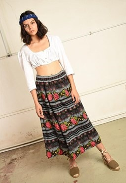 Vintage 70s Boho Paris chic skirt with floral Boho print