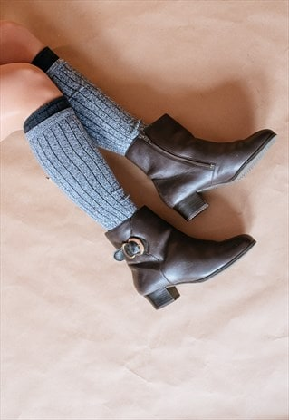 VINTAGE 90S LEATHER ANKLE BOOTIES