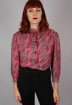 Vintage 70s pink red print blouse with neck tie