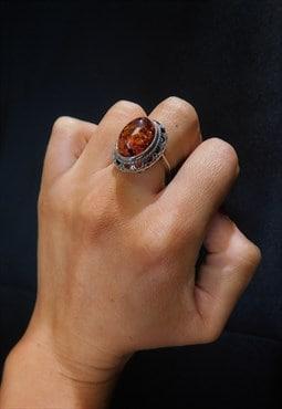 Genuine AMBER ring Vintage Boho Style Sterling Silver