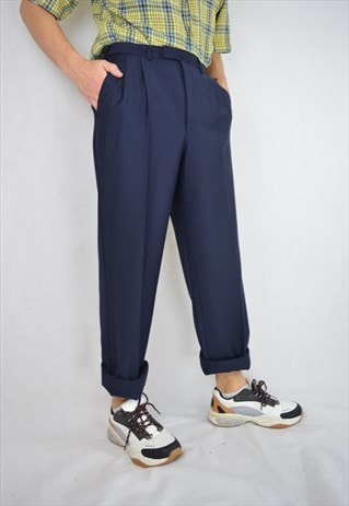 VINTAGE DARK BLUE REGULAR TROUSERS