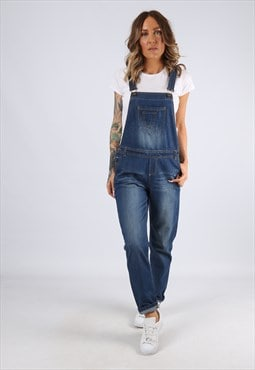 Denim Dungarees Tapered Leg Vintage UK 10 (C94A)