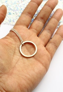 Large Chunky Sterling Silver Hoop Necklace