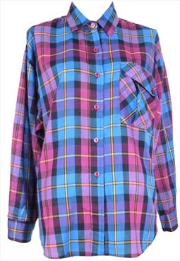 Vintage 70s Western Pink and Blue Check Print Collared Long