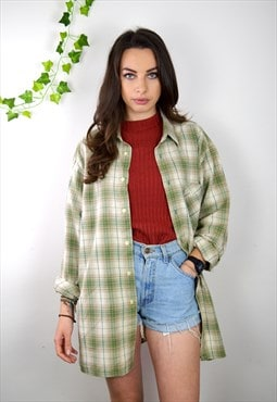90s Vintage Green and Cream Checked Flannel Shirt