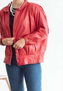 Vintage 80s zip up balloon oversized leather jacket