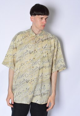 Vintage 90s Beige Graphic Grunge Linen Blend Short Sleeve Sh