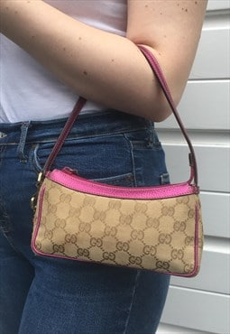 Womens Gucci handbag purse all over monogram print pink