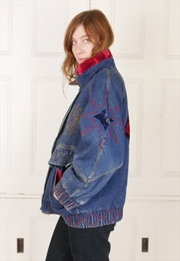 Oversized 80s Embroidered Denim Jackt