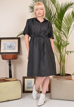 Vintage 90s Shirt Midi Dress with Waist Tie Black