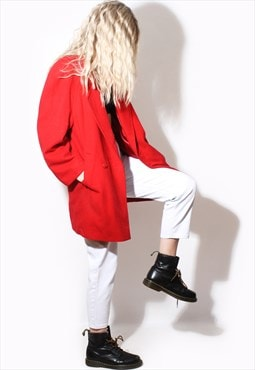 Vintage 90's RED wool trench coat winter
