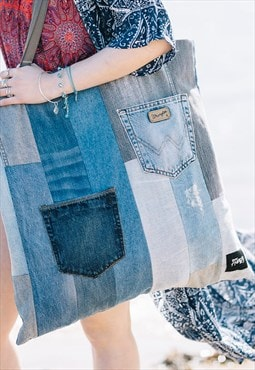 Tote Bag Oversized In Panelled Denim With Pockets