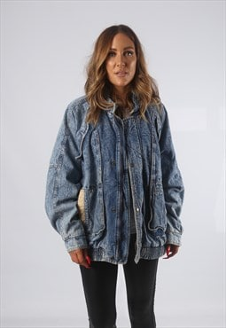 Vintage Denim Bomber Jacket Oversized ACID WASH UK 16 (8BH)