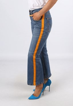 KICK FLARE Side Stripe Reworked Jeans Flared UK 10 (H31B)