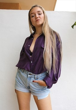 Deep Purple Pure Silk Long Sleeved Boyfriend Shirt