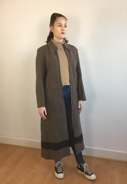 Womens vintage Fendi coat long wool mac trench in brown