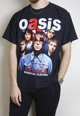 y2k Oasis Black T-Shirt Mens XL