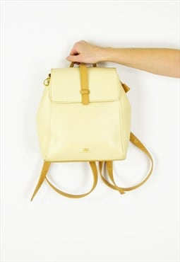 Cream Faux Leather BackPack Bag