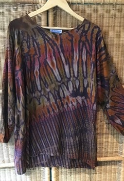 Ethnic butterfly wing style print baggy boho top