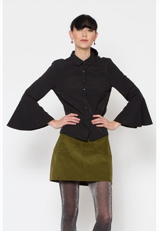 BLACK FITTED BLOUSE WITH 3/4 LENGTH FLARED RUFFLE SLEEVES
