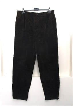 Vintage Men's Dark Brown Cord Pants Tapered Trousers L XL