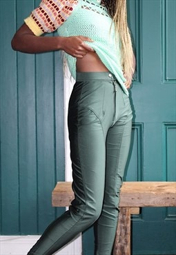 80s green leggings zipped in the front