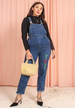 Vintage 90s Denim Dungarees with Embroidery
