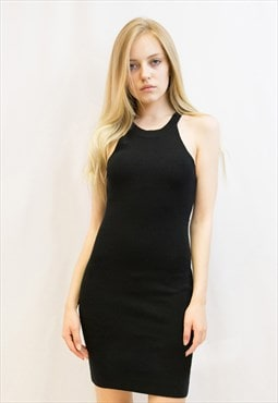 Cotton rib Bodycon short dress in black CY