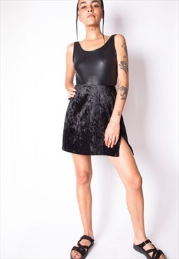 Vintage 90s Y2K Black Velvet Mini Skirt ID:8079