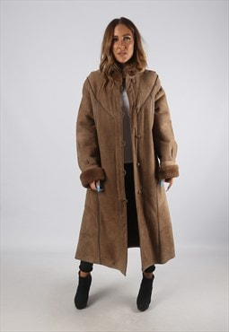 Vintage Sheepskin Suede Shearling Coat Long UK L 14 (K94N)