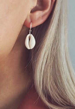 Cowrie Shell Hoop Earrings in Sterling Silver - CASA
