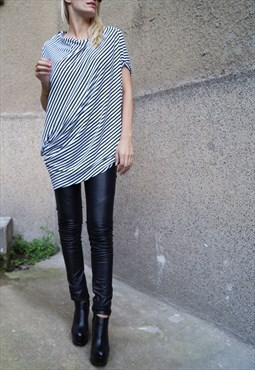 Loose Blouse Asymmetrical Tunic Oversized top Draped F1604