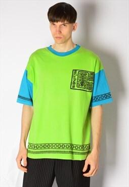 Vintage 80s Lime Green Blue Surf Festival T-Shirt