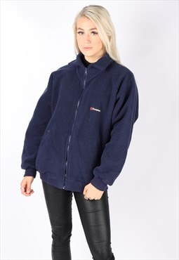vintage BERGHAUS fleece jumper jacket navy blue oversized ML