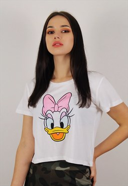 White Disney Daisy Duck Crop Top