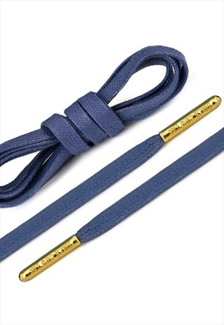 LUXURY FLAT WAXED SNEAKER BLUE SHOELACES WITH GOLD TIPS