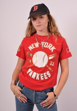 Vintage Majestic NY Yankees T-Shirt Top Red