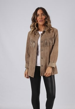 Suede Leather Shirt Tassel Fringe Vintage UK 12  (DKEA)