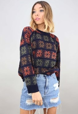 Vintage Oversized Patterned Glitter Jumper