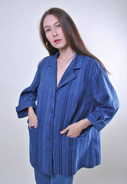 Woman 80s retro oversize minimalist blue blouse