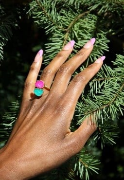 Green Pink Druzy Agate Gold Adjustable Ring