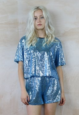 Sequin Shorts & Top Co-Ordinates in baby blue